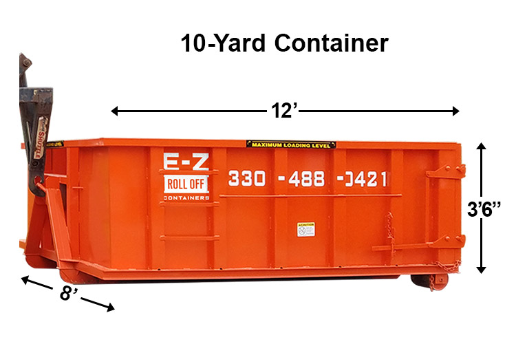 10 yard container from ez roll off containers