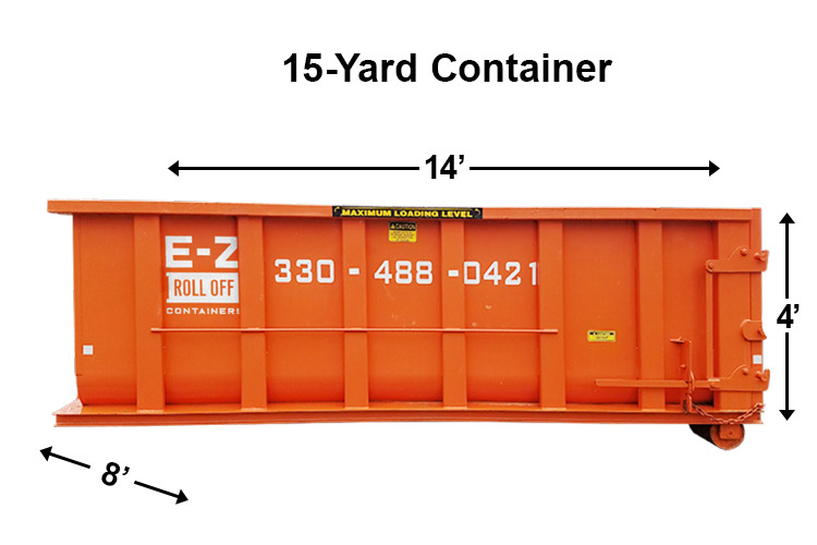 15 yard container from ez roll off containers
